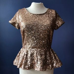 Forever 21 Sequined Peplum Top Shirt Rose Gold